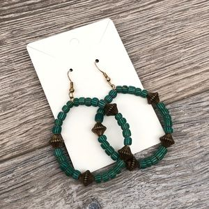 Vintage Costume Teal Green & Bronze Beaded Earring